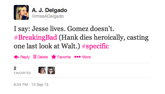 #braggingmoment: That time I correctly predicted the 'Breaking Bad' result (whatever! let a girl have her moment!)